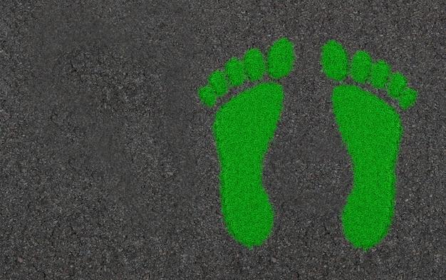 Voetafdrukken in het gras. ecologische concept kunst 3d illustratie