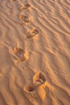 Voetafdrukken in het zand in de rode woestijn bij zonsopgang