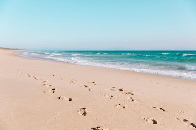 Voetafdrukken in het zand op het strand