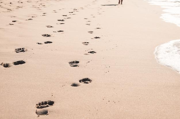 Voetafdrukken in nat zand op het oceaanstrand van margate, zuid-afrika