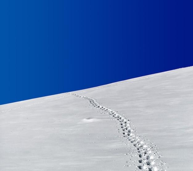 Voetafdrukken in sneeuwveld onder blauwe hemel