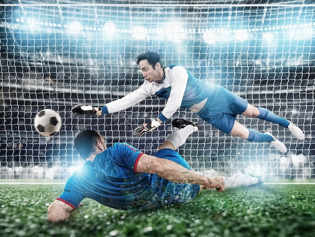 Voetbal close-up scène in het stadion van een keeper die de bal vangt