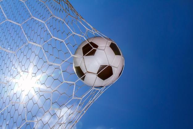 Voetbal in doel op het veld