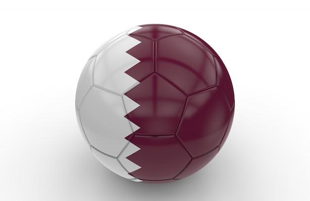 Voetbal met de vlag van qatar; 3d-weergave