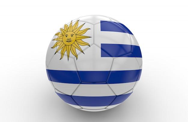 Voetbal met de vlag van uruguay
