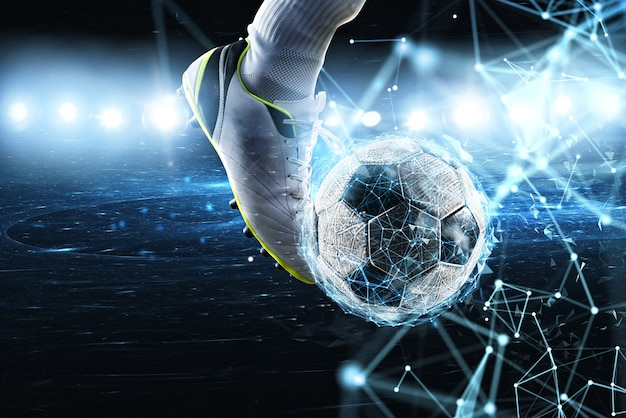 Voetbal met digitaal internet netwerkeffect. concept van digitale weddenschap