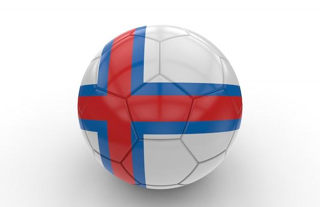 Voetbal met vlag van de faeröer