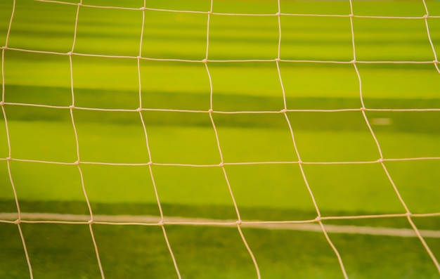 Voetbal net. voetbal net op groen gras achtergrond