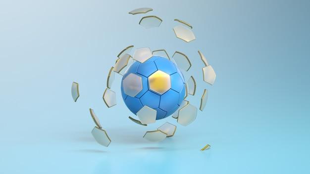Voetbal of europese voetbalbal op blauwe achtergrond voetbal met gebroken zeshoekige segmenten