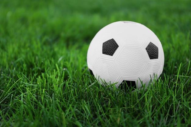 Voetbal op groen gras buitenshuis