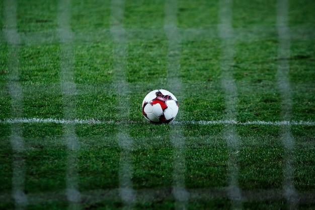 Voetbal op voetbalveld, voetbalgazon met net