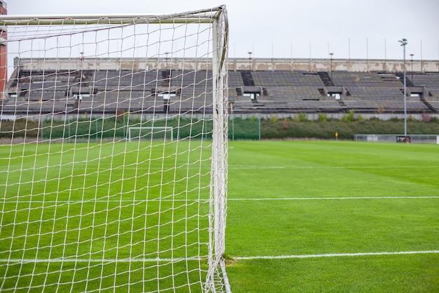 Voetbal poort op groen grasveld