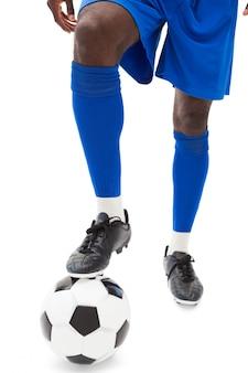 Voetbal spelers benen met bal