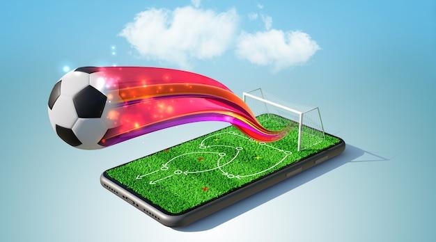 Voetbal spelstrategie op smartphone. 3d-weergave