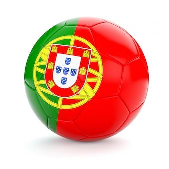 Voetbal voetbal met de vlag van portugal