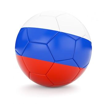 Voetbal voetbal met de vlag van rusland