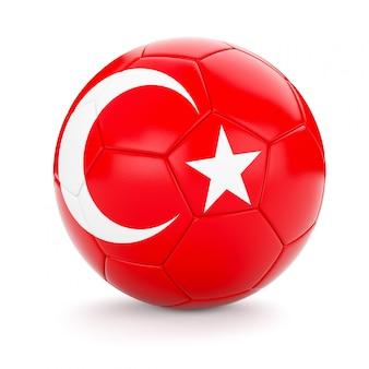 Voetbal voetbal met de vlag van turkije
