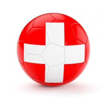 Voetbal voetbal met de vlag van zwitserland