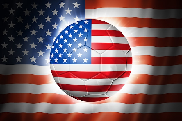 Voetbal voetbal met usa vlag