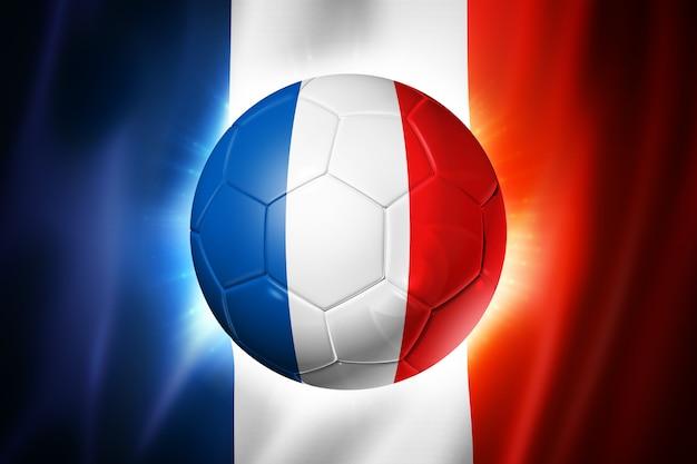 Voetbal voetbal met vlag van frankrijk