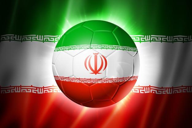 Voetbal voetbal met vlag van iran