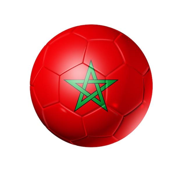 Voetbal voetbal met vlag van marokko