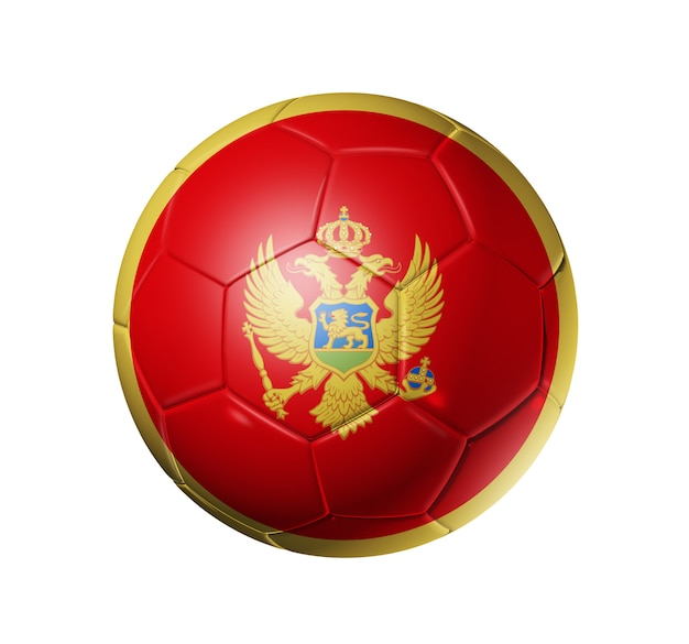 Voetbal voetbal met vlag van montenegro