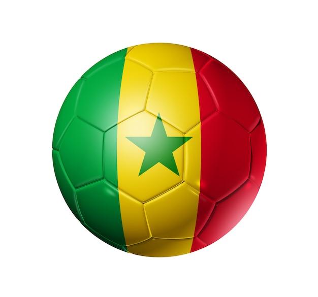 Voetbal voetbal met vlag van senegal