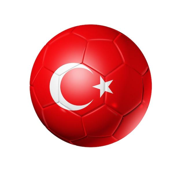 Voetbal voetbal met vlag van turkije