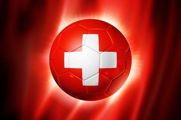 Voetbal voetbal met vlag van zwitserland