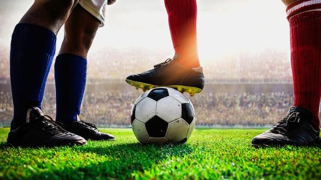 Voetbal voetbalwedstrijd aftrap
