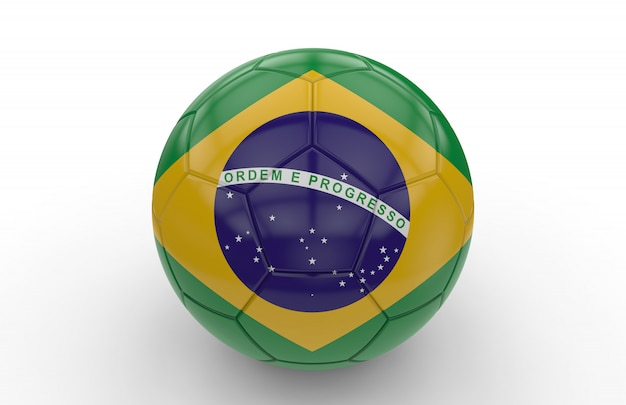 Voetbalbal met braziliaanse vlag