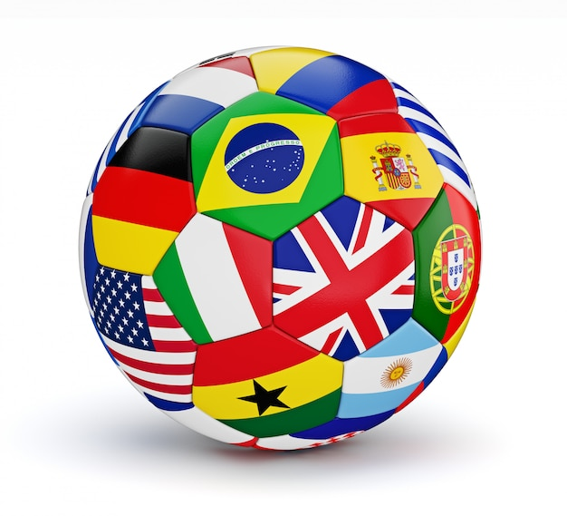 Voetbalbal met de vlaggen van wereldlanden geïsoleerd