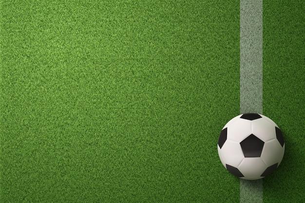 Voetbalbal op de achtergrond van het voetbalgebied