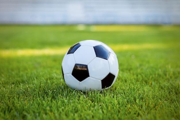 Voetbalbal op de grasvoetbal