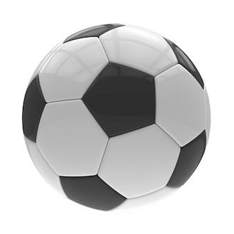 Voetbalbal op wit met het knippen van weg wordt geïsoleerd die