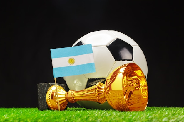 Voetbalbeker met voetbal op gras