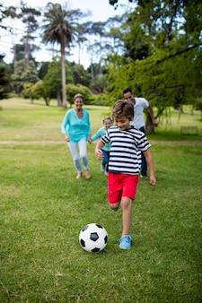 Voetballen in het park en gelukkige familie