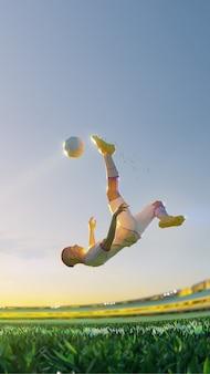 Voetballer in aanval. veelhoekstijl