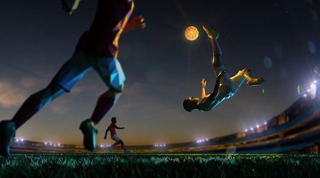 Voetballer in het stadion van de aanvalsnacht en lichte bal. veelhoekstijl