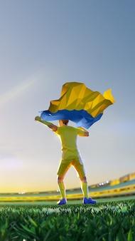 Voetballer na het kampioenschap van de winnaarspel houdt de vlag van oekraïne vast. veelhoekstijl