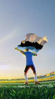 Voetballer na het kampioenschap van het winnaarspel houdt de vlag van estland vast. veelhoekstijl