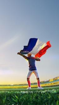 Voetballer na het kampioenschap van het winnaarspel houdt de vlag van frankrijk vast. veelhoekstijl
