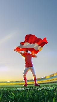 Voetballer na het kampioenschap van het winnaarspel houdt de vlag van oostenrijk vast. veelhoekstijl