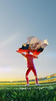 Voetballer na het kampioenschap van het winnaarspel houdt de vlag van servië vast. veelhoekstijl