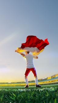 Voetballer na het kampioenschap van het winnaarspel houdt vlag van polen vast. veelhoekstijl