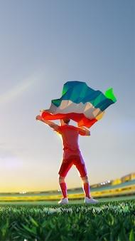 Voetballer na kampioenschap van het winnaarspel houdt vlag van luxemburg vast. veelhoekstijl