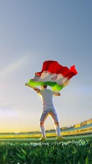 Voetballer na winnaar spelkampioenschap houdt vlag van iran vast. veelhoekstijl