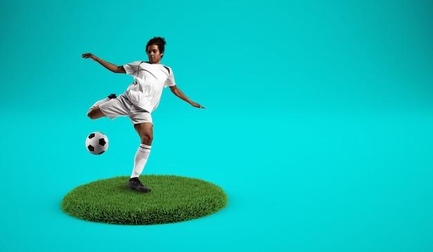 Voetballers die de bal schoppen op een met gras begroeide plaat met cyaan achtergrond
