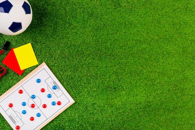 Voetbalsamenstelling met copyspace en net